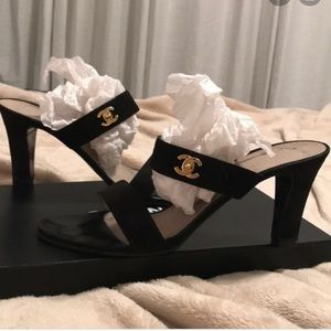 Chanel double strap slip on heeled sandals